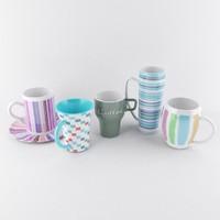 5 mugs 3d max