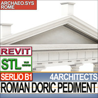 Roman Doric Pediment Serlio Block B1 Revit STL Printable