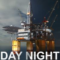 oil rig scene 3d model