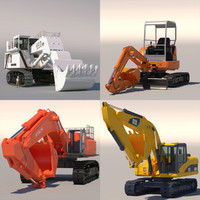 excavator hitachi liebherr 3d model