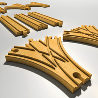 wooden rails 3d c4d