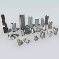 3d 20 city buildings skyscrapers