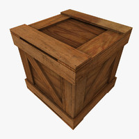 square wooden crate 3d obj