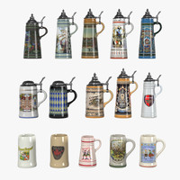 3d model of beer stein set