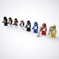 rigged lego space minifigures 3d model