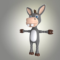 cool cartoon donkey animation 3d obj