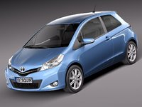 3d model toyota yaris 2012 3-door