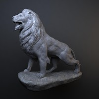 stone lion sculpture obj