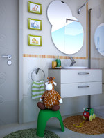 children room bathroom 3d model
