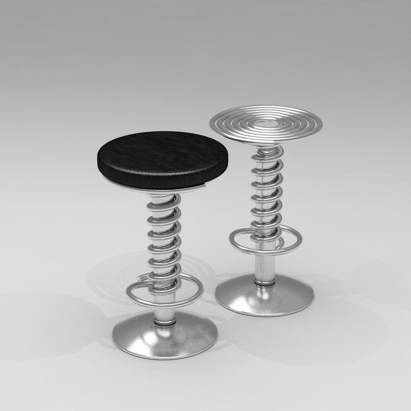 3d screw bar stool barstool model - Screw top bar stools ...