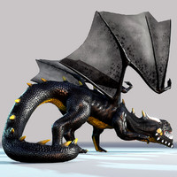 3d model fantasy dragon black