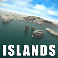 3ds max ocean islands rocks landscape