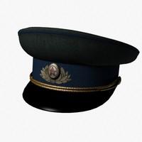 kgb peaked cap 3d model