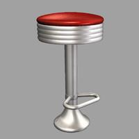 50s fountain stool obj
