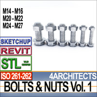 Bolts Nuts Vol 1 ISO 261 262 STL Printable