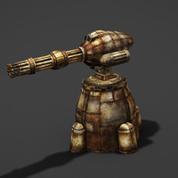 3d gatling turret model