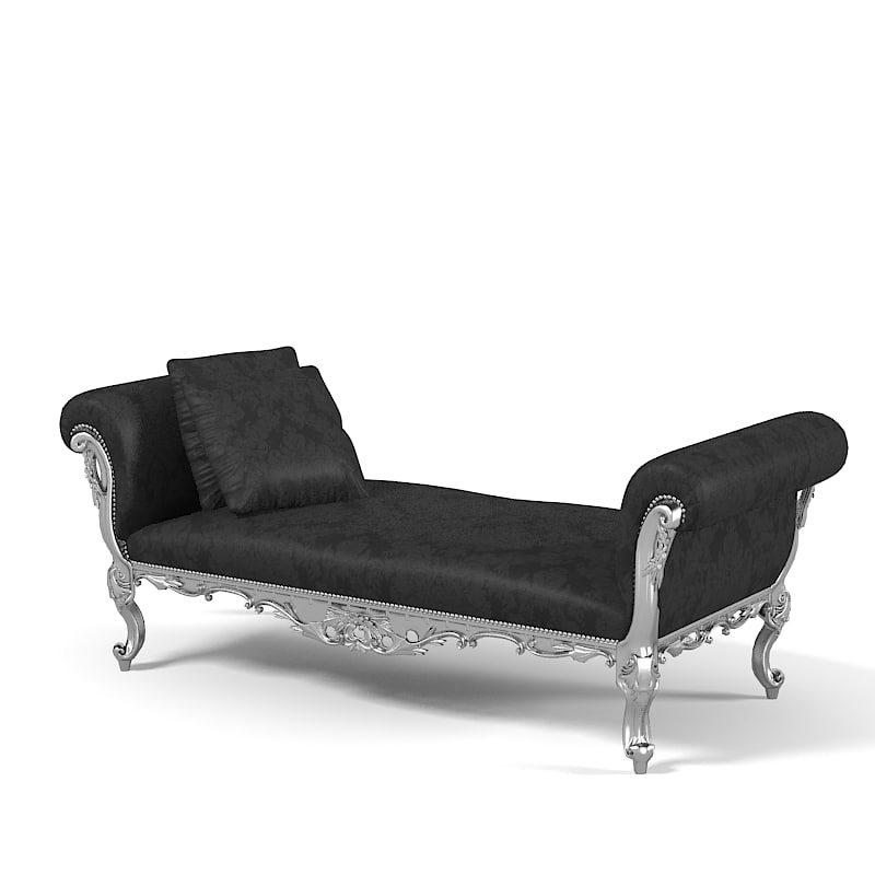 3d interni 8046 ottoman model for Chaise baroque avec accoudoir