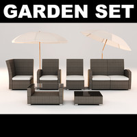 rattan furniture garden set 3d model