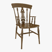 oak fiddle chair obj