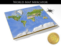 relief world mercator 3d model
