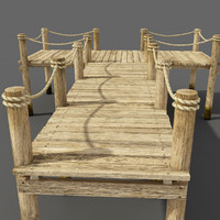 3d wooden pier wood model