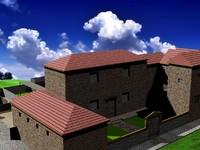 3d model roman village architectural