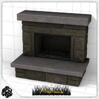 3d fireplace stones