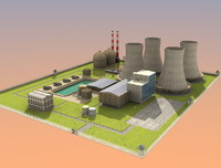 nuclear powerplant buildings 3d 3ds