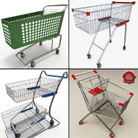 supermarket trolleys 3d c4d