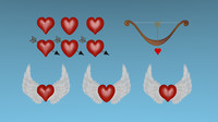 3d model heart arrow wings