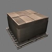 cardboard box pile crate 3d model