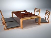 3d japanese furniture set model