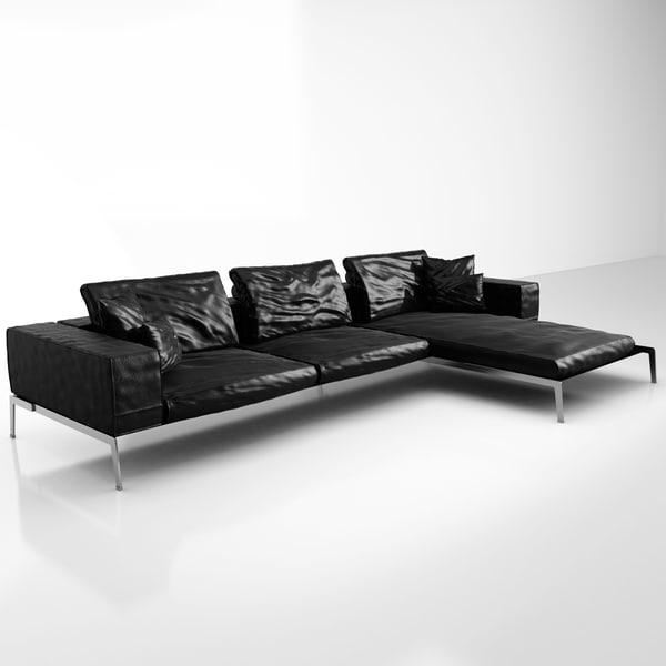 flexform lifesteel 218 cm 3ds. Black Bedroom Furniture Sets. Home Design Ideas
