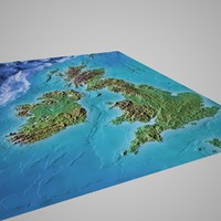 great britain mountain maps 3d model