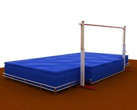 High jump bar and mat