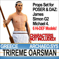 Props Set Poser Daz for Ancient Greece Trireme Oarsman