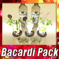 3d bacardi bottle mojito shot model