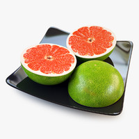 3d grapefruit slice green