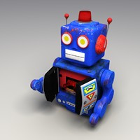 3d rigged rusty toy robot