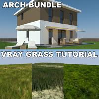 3d model house grass