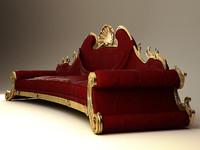 3d model oak exlusive sofa 4m