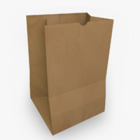 brown paper bag 3d model