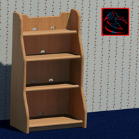 3d model decorative bookshelf books