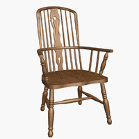3d oak windsor armchair