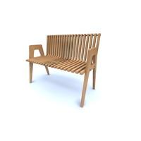 3d model curved park bench