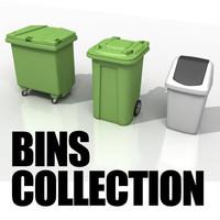 3d european waste bins