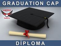c4d render graduation cap diploma