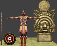 aztec character warrior 3d obj