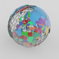 extruded administrative world 3d model