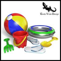 set beach toys 3d model